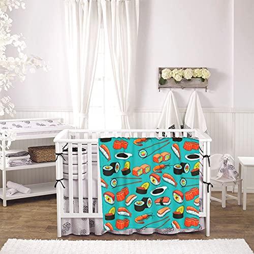 Sushi Pattern Unisex Plush Blanket Infant Newborn Receiving Blanket for Crib Stroller Travel Decorative One Size Black