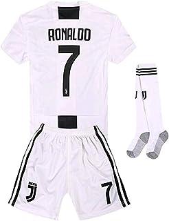 Newkidsjs Juventus #7 Ronaldo Kids and Youth Soccer Jersey & Shorts & Socks 2018-2019 Home White/Black
