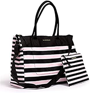 Victorias Secret Weekend Travel Tote Bag & Cosmetics Bag Pink Stripe