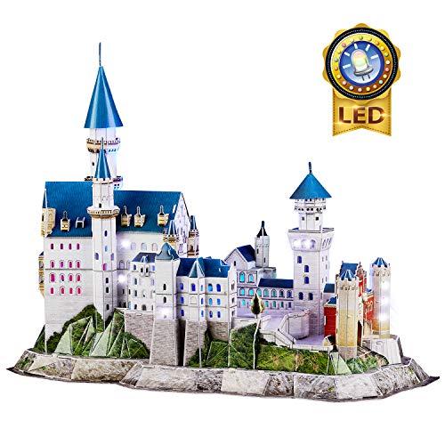 CubicFun 3D Puzzle LED Neuschwanstein Burgen Deutschland Architekturmodellbausatz Geschenke für Erwachsene und Kinder, 128 Stück