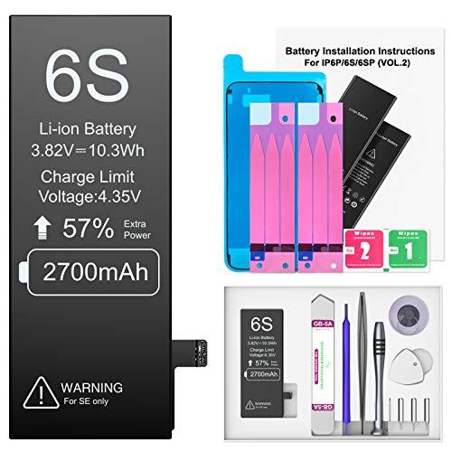 2700mAh Akku für iPhone 6S, Ponoser Neuer 0-Zyklus Höhere Kapazität Li-ion Ersatz Akku für Apple 6S mit Komplett Professionelle Reparaturwerkzeuge und Anweisungen, Garantie 2 Jahr 100%