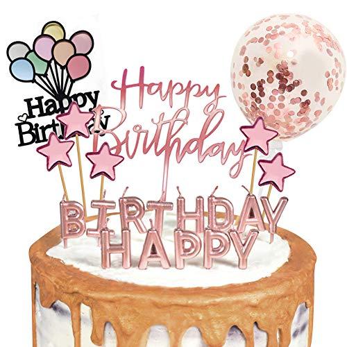 Sunshine smile Happy Birthday Cake Topper, Tortendeko Geburtstag, Konfetti Luftballon Kuchendeko, Tortendeko Kerzen Sterne, Tortenstecker, Tortenaufsatz, Kuchendekoration Geburtstag (Roségold)
