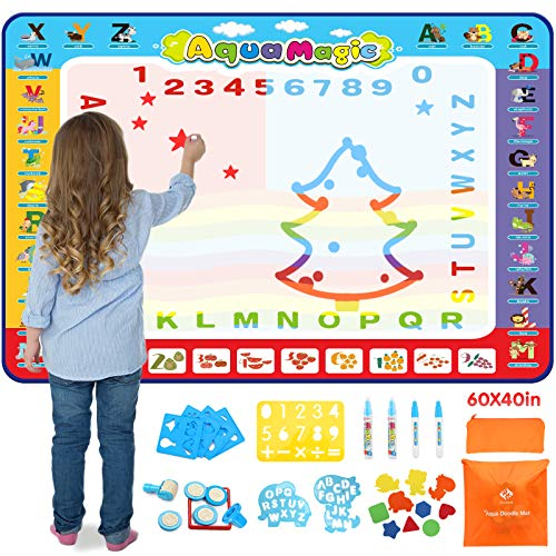 Fansteck Water Drawing Mat for Kids, 60x40 inch Large Doodle Mat with Storage Bags,Aqua Doodle Mat with 26 Accessories, Idea Gifts for Christmas and Educational Toys for Age 3 4 5 6 7 8