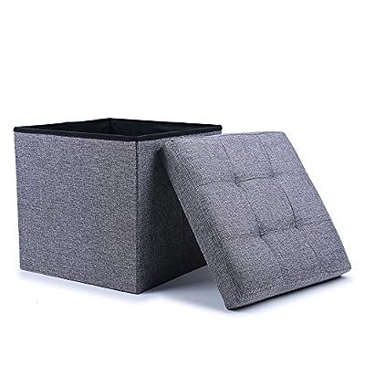 WoneNice Folding Storage Ottoman Cube Foot Rest Stool Seat (Linen Gray)