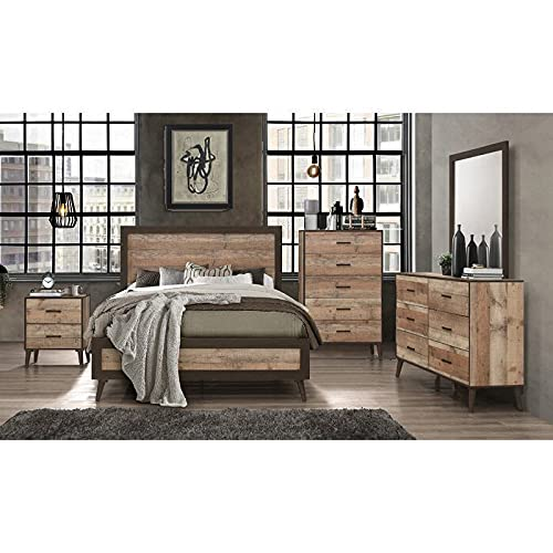 Bedroom Furniture in Distressed Wood Available in King, Queen or Full Size Bed, Nightstands & Dressers Available (King Bed a468c) - All Items Sold Separately