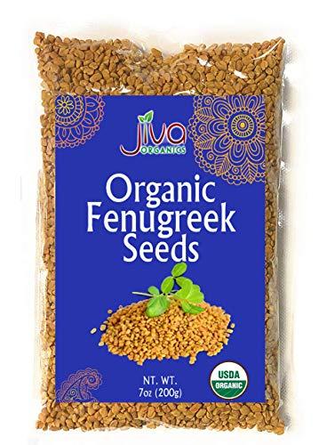 Jiva Organic Fenugreek Seeds 7 ounce - Non-GMO, Fenugreek Seeds For Hair Growth, Cooking & Sprouting, Methi Seeds For Methi Dana Water, Fenogreco En Semillas, Whole Fenugreek Spice, Helba Seeds