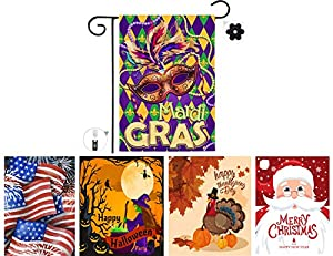 【PERFECT HOLIDAY GARDEN DECOR】 Our holiday yard flag celebrate seasons and holidays with premium durable quality and custom designed garden flags as it is a great addition to add to your garden, home or lawn! 【CELEBRATE EVERY SEASONS AND HOLIDAYS 】 V...