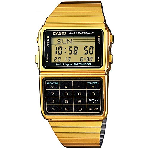 Casio Unisex-Armbanduhr Databank Digital Quarz Edelstahl beschichtet DBC-611G-1D