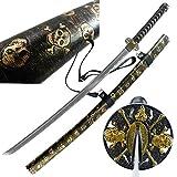MAKOTO Handmade Gold Skull Black Sharp Katana Samurai Sword 40', Golden Embossed Leatherette Wrapped Scabbard, Shoulder Straps