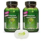 Irwin Naturals Women's Multivitamin Living Green Liquid-Gel Multi with Key Nutrients and Whole Foods - 120 Liquid Softgels (2-Pack) Bundle with a Pill Case