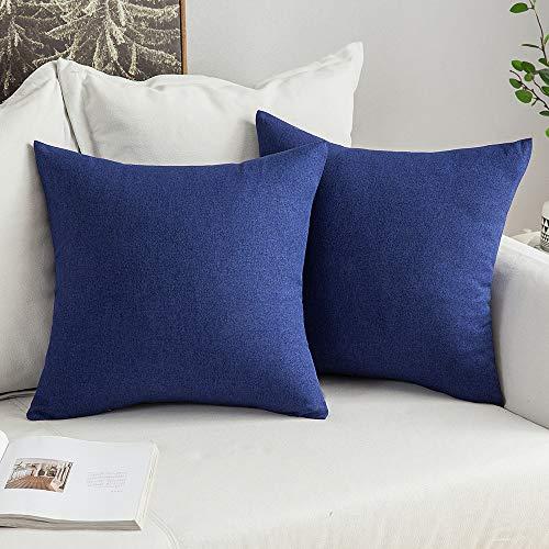 MIULEE 2er Pack Weiche Kissenbezug Kopfkissenbezug Leinen Kiessehülle für Sofa Schlafzimmer Auto mit Reißverschlüsse 45x45 cm Kissenbezüge Navy Blau
