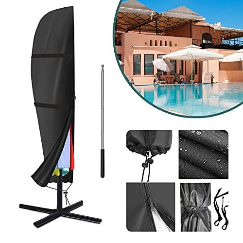 Raword Housse de parasol de terrasse pour parasol de 2,7 m à 3,4 m, imperméable, avec fermeture éclair, utilisée pour l'extérieur, le jardin, à suspendre (Noir)