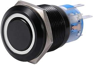Keenso 19 mm 12 V lås tryckknapp omkopplare, metall svart skal lämplig för självlåsning på/av LED-spärrreglering högspolad...