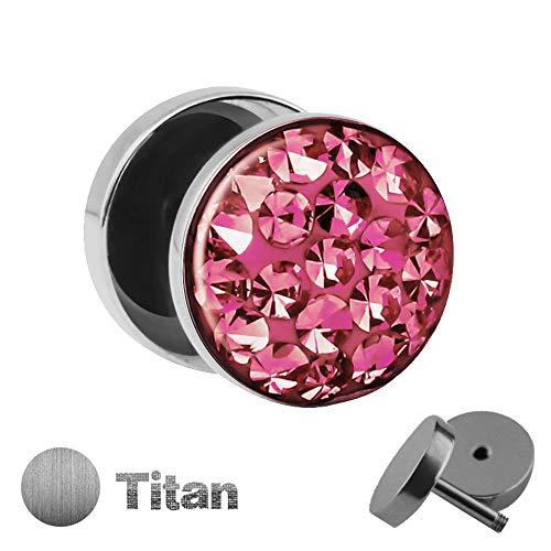 Treuheld | 10mm Titan Fake Plug Ohrstecker | Silber | Rosa Glitzer - Kristalle | Fake Tunnel Ohrring mit Gewinde zum Schrauben | Damen +...