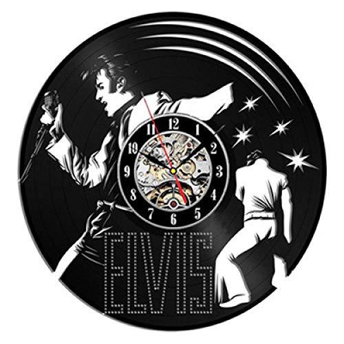 SKYTY 3D Clock Wanduhr Aus Vinyl Schallplattenuhr Upcycling Design Uhr Wand Deko -Elvis Vintage Familien Zimmer Dekoration Kunst 30cm-kein LED-Licht