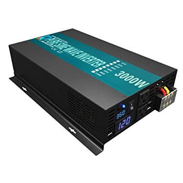 WZELB 3000 Watt Continuous / 6000 Watt Peak 36v Pure Sine Wave Power Inverter DC to 120V AC Power Converter with 2 AC Outlets, 2 Sets of Battery Cables, LED Display