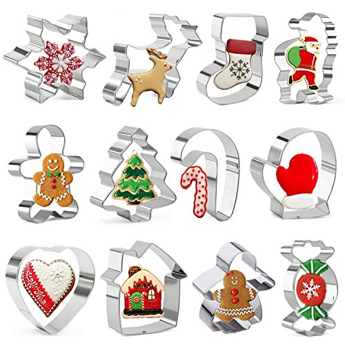 Olywee - Set di 12 formine per biscotti natalizi, per le festività, con omino di pan di zenzero, fiocco di neve, albero di Natale e altre forme, in acciaio inox