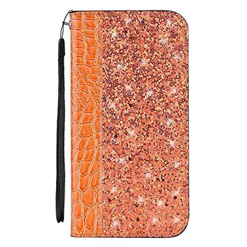 vingarshern Hülle für Oukitel K5000 Schutzhülle Etui Klappbares Magnetverschluss Flip Case Lederhülle Glitzer Handytasche Oukitel K5000 Hülle Leder Tasche MEHRWEG(Orange)