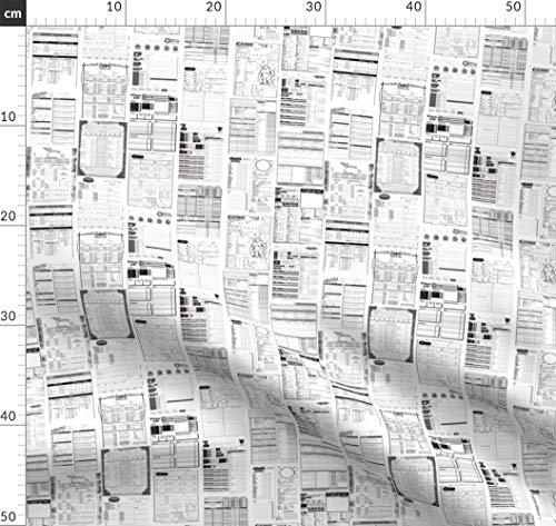 Vintage, groß, Nerd, Spiele, Würfel, Rollenspiel, Rollenspiel Stoffe - Individuell Bedruckt von Spoonflower - Design von Quietlyscheming Gedruckt auf Seidenimitat Crêpe de Chine