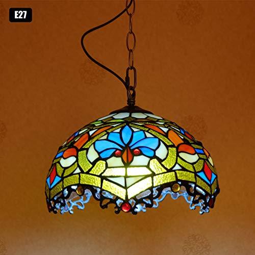 ACHNC Tiffany Lámpara Colgante Cocina Vintage Lámpara de Techo Vidrio Manchado Barroco Lámpara de Mesa de Comedor E27 Lámpara de Araña Dormitorio Sala de Estar Pasillo Cafe Iluminación de Techo,Ø30cm