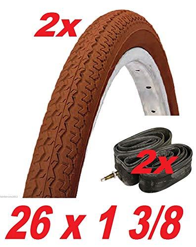 2X Neumático/Neumático Bicicleta + 2X Cámaras de Aire 26 X 1 3/8 Holanda-R - Bici de Paseo / en Marrón