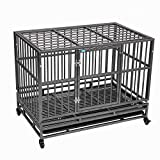 """37""""/42.5"""" Heavy Duty Dog Kennels and Crates for Large Medium Dogs, Hard-Sided Escape Proof Pet Dog Cage for Travel Indoor Outdoor with Safety Lock,Floor Tray, Double Doors"""