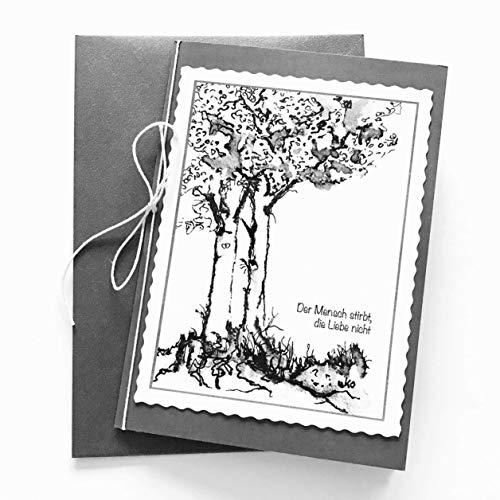 Trauerkarten Beileid, 2 Klappkarten mit Umschlag, Spruch: Der Mensch stirbt, die Liebe bleibt