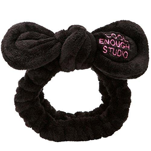 Sea Team - Fascia per capelli da donna alla moda con fiocco in tessuto coral fleece, per trucco, doccia e cosplay