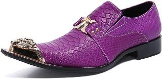 YOWAX Zapatos púrpuras Zapatos de Cuero con Puntera metálica de Cuero del Casquillo de los Hombres de Casual, Fiesta, Vaqu...