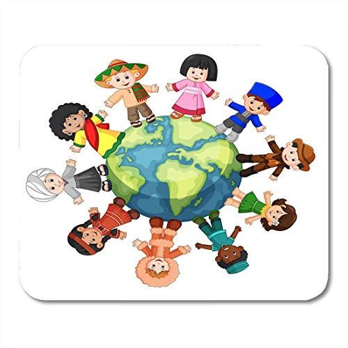 Mauspads multikulturell global unterschiedlicher kultur zusammenstehend händchen haltend mauspad für notebooks, Desktop-computer-matten büromaterial