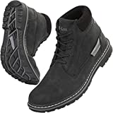 CC-Los Hiking Boots Men's Non-Slip Leather Warm Boot Water Resistant Shoe Outdoor Shoes Fur Lined Black