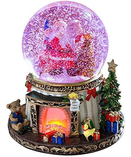 Wichtelstube-Kollektion XL LED Schneekugel Bescherung elektrischer Schneewirbel, viele Melodien und Farbwechsel Glitzerkugel