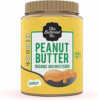 The Butternut Co. Peanut Butter Organic Unsweetened Crunchy, 925 gm (No Added Sugar, Vegan, High Protein, Keto)
