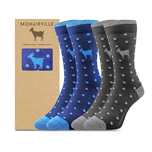 Mohair Merino Wollsocken 2 Paar - weich, geruchsfrei, atmungsaktiv, bunt, Premium 80prozent Naturfaser Socken, Größe 41-46, Business oder Freizeit