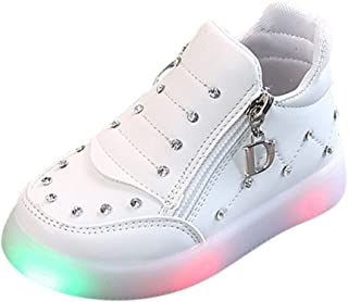 XUANOU Children Baby/ Girls Zip Crystal Led Light Luminous Running Sport Sneaker Shoes