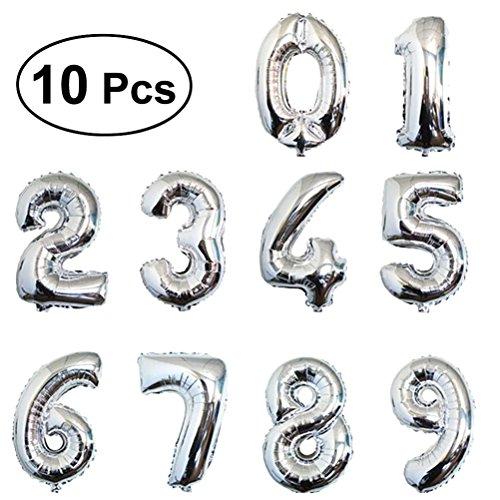 TOYMYTOY 40cm Palloncini Compleanno Numero Elio stagnola Palloncino in Foil per decorazione partito (Argento)