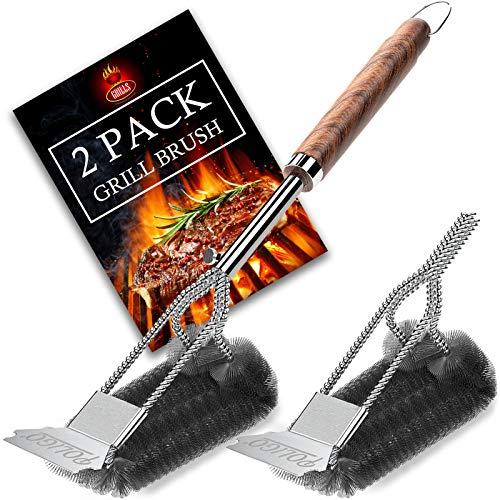 POLIGO - Juego de 2 cepillos y raspador para parrillas de barbacoa de acero inoxidable resistente con cabezal de cepillo adicional, accesorios de limpieza de cerdas de alambre tejido para gas, carbón