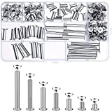 Pangda 80 Set Chicago Binding Screws Assorted Kit 5 Sizes Metal Round Cross Head Stud Screw Posts Nail Rivet Chicago Button for DIY Leather Decoration Bookbinding (5 x 5, 8, 12, 18, 25, 35, 45)