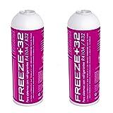 REPORSHOP - 2 Botellas Gas Ecologico Refrigerante Freeze Organico +32 350Gr Sustituto R32, R410A