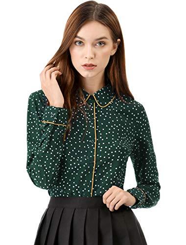Allegra K Damen Langarm Panel Button Polka Dots Top Bluse Grün S