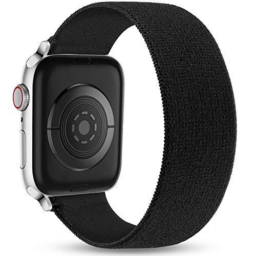 Ouwegaga Correa de Repuesto Compatible con Apple Watch 44mm 42mm 40mm 38mm, Pulsera Elástica de Nailon Suave Elástica Correa Compatible con iWatch Series SE 6 5 4 3 2 1, 42mm/44mm-M/L Negro