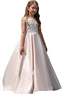 HYGLJL Rose Gold Sequin Flower Girl Pageant Birthday Party Communion Dresses 442