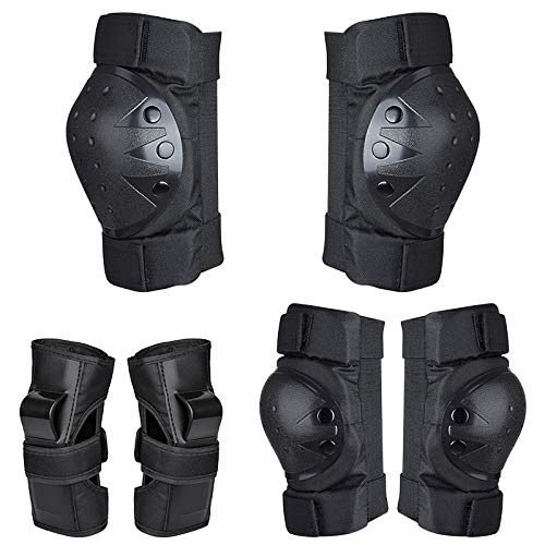 Kids Knee Pads and Elbow Pads, Wrist Guards 3 in 1 Protective Gear Set for Rollerblade, Cycling, Inline Skating, Roller Skating, BMX Bike, Scooter Riding, for Youth boys and girls. (BLACK, SMALL)