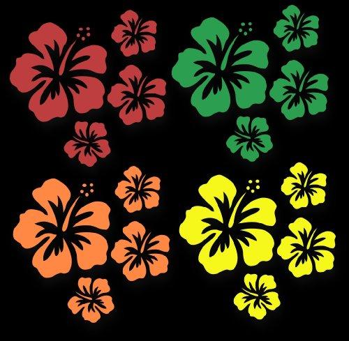 XL MIXED SET HIBISKUS Blüten ~Hippie Rainbow~, 16 Stück Autoaufkleber Blumen bunte Sticker Outdoor, Wandtattoo & Fensterbild in 4 Farben, rot, grün, orange, gelb