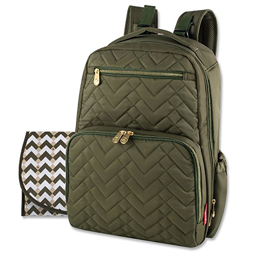 Fisher Price Diaper Bag Backpack - Signature Collection, with Cell Phone and Tablet Pockets and Stroller Clips (Olive)
