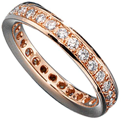 JOBO Damen-Ring aus 585 Rosegold mit Diamanten rundum Größe 54