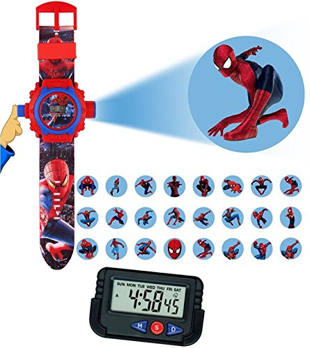 Pappi Haunt Kids Favourite - Pack Of 2 Spiderman Projector Wrist Band Watch For Kids, Children & Car Dashboard, Office Desk Alarm Table Clock With Stopwatch & Flexible Stand