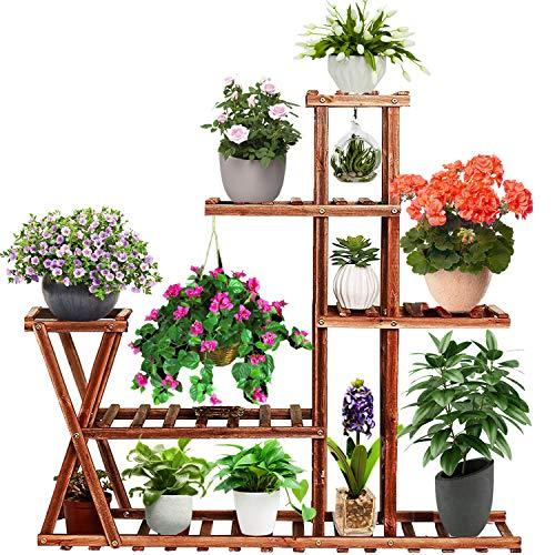 Baboies 5 Tier Wooden Plant Stand Shelf Flower Pot Holder Display Multi-Shelvings Storage Rack for Plants Displaying Home Garden Patio Corner Outdoor Indoor (5 Tier)