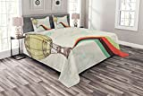 ABAKUHAUS amerikanisch Tagesdecke Set, New Yorker Wolkenkratzer, Set mit Kissenbezügen Sommerdecke, für Doppelbetten 220 x 220 cm, Mehrfarbig