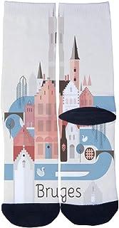 Men's Women's Custom Crew Socks Belgium Bruges New style Travel Poster Socks Colorful Patterned Comfortable Socks